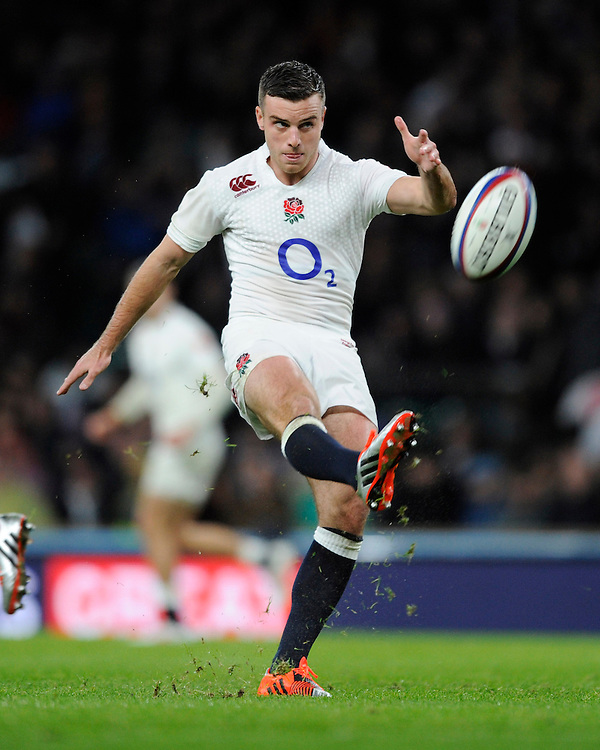 George Ford of England takes a quick conversion during the QBE International match between England and New Zealand at Twickenham Stadium on Saturday 8th November 2014 (Photo by Rob Munro)