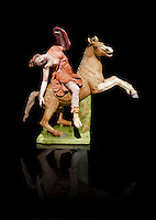 Painted colour verion of Roman marble sculpture of an Amazon on horseback, a 2nd century AD copy from an original 2nd century BC Hellanistic Greek original, inv 6407, Museum of Archaeology, Italy