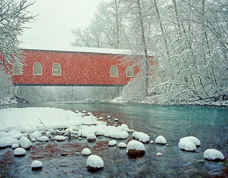 F00086M.tiff   Shimanek Bridge in snow storm. Near Scio, Oregon.