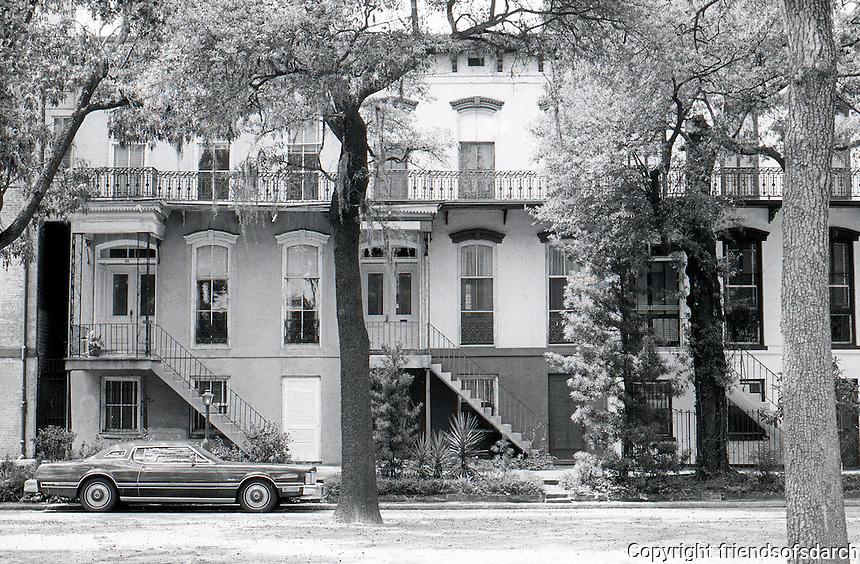 Savannah: Row Houses, high porches from across street.
