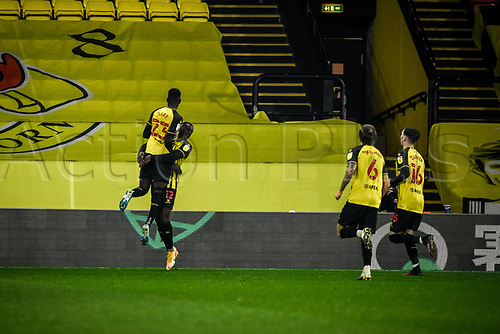 4th November 2020; Vicarage Road, Watford, Hertfordshire, England; English Football League Championship Football, Watford versus Stoke City; Ismaïla Sarr scores the winning goal for 3-2 to Watford in the 93rd minute as Sarr celebrates with Ken Sema.