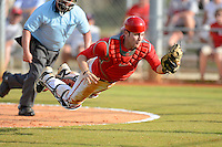 Ohio State Buckeyes catcher Greg Solomon #16 makes a diving catch on a foul pop up bunt attempt during a game against the South Dakota State Jackrabbits at North Charlotte Regional Park on February 23, 2013 in Port Charlotte, Florida.  Ohio State defeated South Dakota State 5-2.  (Mike Janes/Four Seam Images)