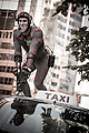 Simon Burnett on top of car for Rise of the Planet of the Apes