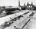 Still from a Soviet film showing a non-military parade at the Kremlin in Moscow, 1955.