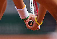France, Paris, 02.06.2014. Tennis, French Open, Roland Garros, hands holding tennisracket<br /> Photo:Tennisimages/Henk Koster