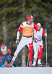 Sochi, RUSSIA - Mar 16 2014 - Robbi Weldon and her guide Phil Wood compete in Cross Country Skiing Women's 5km Free Visually Impaired at the 2014 Paralympic Winter Games in Sochi, Russia.  (Photo: Matthew Murnaghan/Canadian Paralympic Committee)