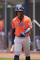 Houston Astros Pedro Leon (9) bats during a Minor League Spring Training game against the New York Mets on April 27, 2021 at FITTEAM Ballpark of the Palm Beaches in Palm Beach, Fla.  (Mike Janes/Four Seam Images)