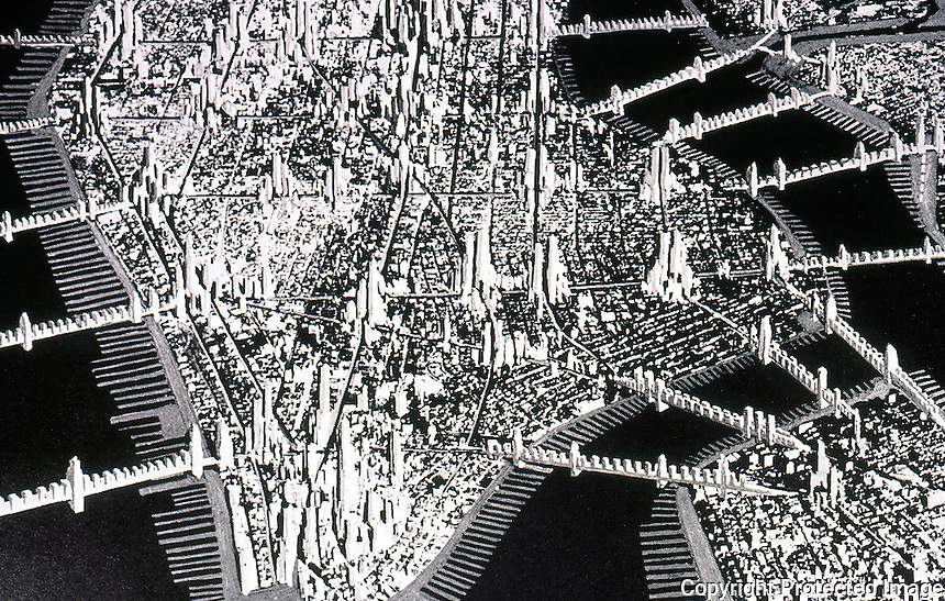 "Raymond Hood:  ""Manhattan 1950"" --Collage, 1930. (See Paul Rudolph too)  Koolhaas, p. 148."