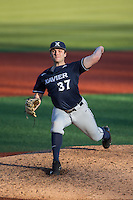 Xavier Musketeers relief pitcher Brad Kirschner (37) in action against the Charlotte 49ers at Hayes Stadium on March 3, 2017 in Charlotte, North Carolina.  The 49ers defeated the Musketeers 2-1.  (Brian Westerholt/Four Seam Images)