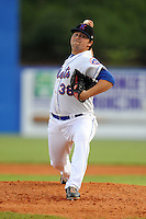 Kingsport Mets starting pitcher Robert Whalen #38 delivers a pitch during a game against the Bristol White Sox at Hunter Wright Stadium on August 15, 2013 in Kingsport, Tennessee. The White Sox won the game 4-2. (Tony Farlow/Four Seam Images)