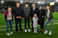 Lee Trundle of Swansea City with mascots during the Sky Bet Championship match between Swansea City and Stoke City at the Liberty Stadium in Swansea, Wales, UK. Wednesday 09 April 2019