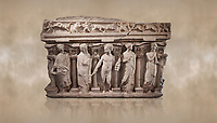 "Roman relief sculpted sarcophagus with kline couch lid, ""Columned Sarcophagi of Asia Minor"" style typical of Sidamara, 3rd Century AD, Konya Archaeological Museum, Turkey. Against a warm art background."