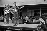 Pendleton Oregon  street fair, country and western band performing 1969, USA