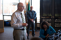City of Sammamish Interim City Administrator Larry Patterson, left, and Interim IT Director Steve Schommer, provide an update to City Hall staff, March 19, 2019. The City of Sammamish has been forced to confront a ransomware case afflicting the area's computer systems, along the way bringing on new IT staff and protocols.<br /> Photo by Daniel Berman