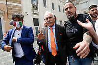 Former General Antonio Pappalardo, chief of the movement Orange vests<br /> Roma June 2nd 2020. Italy, Piazza del Popolo. Demonstration of the right movement 'Orange Vests' against the government in occasion of the anniversary of the Republic. The protesters wear orange gilet<br /> Photo Samantha Zucchi Insidefoto
