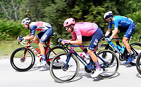 8th July 2021; Nimes, France; THEUNS Edward (BEL) of TREK - SEGAFREDO, BISSEGGER Stefan (SUI) of EF EDUCATION - NIPPO, ERVITI Imanol (ESP) of MOVISTAR TEAM during stage 12 of the 108th edition of the 2021 Tour de France cycling race, a stage of 159,4 kms between Saint-Paul-Trois-Chateaux and Nimes.
