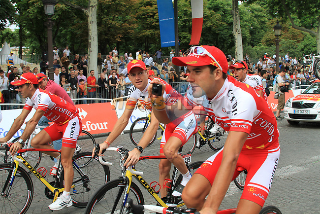 Cofidis part of the team parade at the end of the final Stage 20 of the 2010 Tour de France running 102.5km from Longjumeau to Paris Champs-Elysees, France. 25th July 2010.<br /> (Photo by Eoin Clarke/NEWSFILE).<br /> All photos usage must carry mandatory copyright credit (© NEWSFILE   Eoin Clarke)