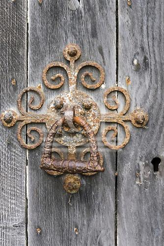 Salisbury, England. Old metal door handle and keyhole.