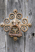 Salisbury, England. Old metal door handle and keyhole.