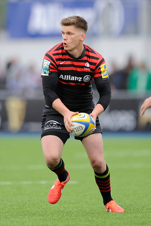 20130512 Copyright onEdition 2013©.Free for editorial use image, please credit: onEdition..Owen Farrell of Saracens during the Premiership Rugby semi final match between Saracens and Northampton Saints at Allianz Park on Sunday 12th May 2013 (Photo by Rob Munro)..For press contacts contact: Sam Feasey at brandRapport on M: +44 (0)7717 757114 E: SFeasey@brand-rapport.com..If you require a higher resolution image or you have any other onEdition photographic enquiries, please contact onEdition on 0845 900 2 900 or email info@onEdition.com.This image is copyright onEdition 2013©..This image has been supplied by onEdition and must be credited onEdition. The author is asserting his full Moral rights in relation to the publication of this image. Rights for onward transmission of any image or file is not granted or implied. Changing or deleting Copyright information is illegal as specified in the Copyright, Design and Patents Act 1988. If you are in any way unsure of your right to publish this image please contact onEdition on 0845 900 2 900 or email info@onEdition.com