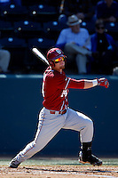 Matt Oberste #14 of the Oklahoma Sooners bats against the UCLA Bruins at Jackie Robinson Stadium on March 9, 2013 in Los Angeles, California. (Larry Goren/Four Seam Images)