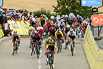Wout Van Aert (BEL) Team Jumbo-Visma attacks followed by Daryl Impey (RSA) Mitchelton-Scott on the final climb Col de la Gachet at the end of Stage 1 of Criterium du Dauphine 2020, running 2185km from Clermont-Ferrand to Saint-Christo-en-Jarez, France. 12th August 2020.<br /> Picture: ASO/Alex Broadway | Cyclefile<br /> All photos usage must carry mandatory copyright credit (© Cyclefile | ASO/Alex Broadway)