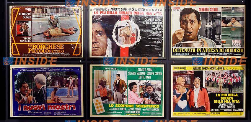 Posters of old films during the opening of the actor Alberto Sordi''s house museum in Rome. In occasion of the centenary of his  birth, the villa in the heart of Rome, where he lived from 1959 to death, was opened to the public, becoming a house-museum. The house still contains thousand of objects belonged to the actor. In the garden two more tensile structures were added, containing stage clothes, posters of his films, photos and much more. <br /> Rome (Italy), September 15th 2020<br /> Photo Samantha Zucchi Insidefoto