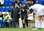 St Johnstone v Inverness Caley Thistle....07.04.12   SPL.Steve Lomas gets a lecture from ref Kevin Clancy.Picture by Graeme Hart..Copyright Perthshire Picture Agency.Tel: 01738 623350  Mobile: 07990 594431