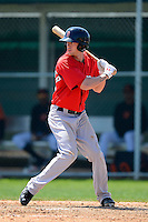Boston Red Sox outfielder Jeremy Hazelbaker during a minor league Spring Training game against the Baltimore Orioles at Buck O'Neil Complex on March 25, 2013 in Sarasota, Florida.  (Mike Janes/Four Seam Images)
