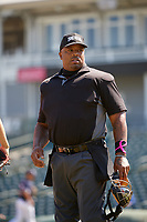 Home plate umpire during the Baseball Factory All-Star Classic at Dr. Pepper Ballpark on October 4, 2020 in Frisco, Texas.  , a resident of , attends .  (Mike Augustin/Four Seam Images)