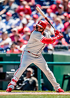 23 August 2018: Philadelphia Phillies infielder Carlos Santana in action against the Washington Nationals at Nationals Park in Washington, DC. The Phillies shut out the Nationals 2-0 to take the 3rd game of their 3-game mid-week divisional series. Mandatory Credit: Ed Wolfstein Photo *** RAW (NEF) Image File Available ***