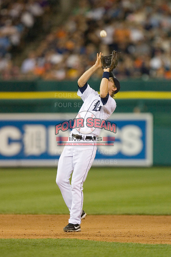 Shortstop Adam Everett #4 of the Detroit Tigers settles under a pop fly at Comerica Park April 27, 2009 in Detroit, Michigan.  Photo by Brian Westerholt / Four Seam Images