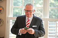 Michael R. Caputo, a Republican political strategist and media consultant, looks over his e-mails as he prepares for his testimony before the United States House Permanent Select Committee on Intelligence as part of their investigation into Russian interference in the 2016 US presidential election, on the kitchen table at the home of a long-time friend in McLean, Virginia on Friday, July 14, 2017.<br /> Credit: Ron Sachs / CNP /MediaPunch