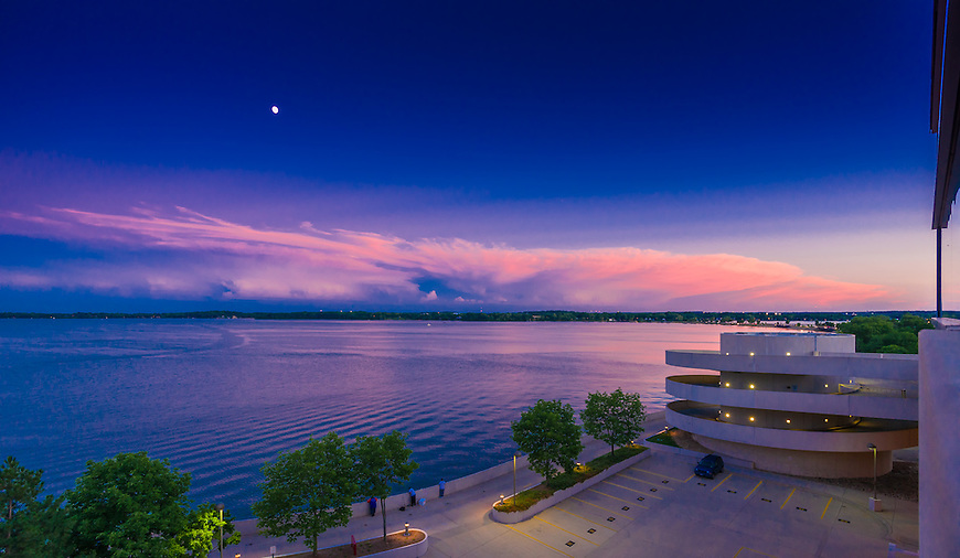 Sunset as seen from Monona Terrace Convention Center in Madison, Wisconsin