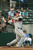Carolina Mudcats catcher Jake Lowery #7 at bat during the first game of a doubleheader against the Myrtle Beach Pelicans at Tickerreturn.com Field at Pelicans Ballpark on May 10, 2012 in Myrtle Beach, South Carolina. Myrtle Beach defeated Carolina by the score of 2-1. (Robert Gurganus/Four Seam Images)