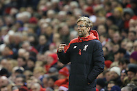 Liverpool Manager Jurgen Klopp points towards himself during the Barclays Premier League Match between Liverpool and Swansea City played at Anfield, Liverpool on 29th November 2015