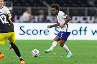 DALLAS, TX - JULY 25: Gianluca Busio #6 of the United States passes the ball during a game between Jamaica and USMNT at AT&T Stadium on July 25, 2021 in Dallas, Texas.