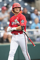 Louisville Cardinals outfielder Lucas Dunn (7) on deck during Game 7 of the NCAA College World Series against the Auburn Tigers on June 18, 2019 at TD Ameritrade Park in Omaha, Nebraska. Louisville defeated Auburn 5-3. (Andrew Woolley/Four Seam Images)