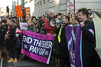 Striking members of the UCU (lecturers) trade union at University College London (UCL) are joined by security guards and cleaners whom are members of the IWGB trade union and also on strike against outsourcing at UCL. Both unions had a joint march to the headquarters of UUK and UCL. London 4-12-19