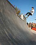 November 07, 2009. Durham, North Carolina.. After months of construction, the Durham Skatepark at Central park opened to a crowd of hundreds that came to watch the crowds try out the new park.. Thomas Hyson, frontside disaster on the 7ft. quarterpipe.