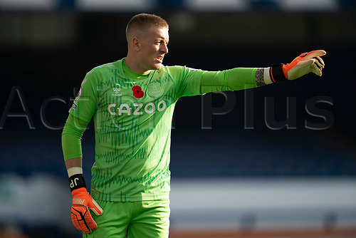 7th November 2020; Liverpool, England; Evertons goalkeeper Jordan Pickford issues instructions to teammates during the Premier League match between Everton and Manchester United,  at Goodison Park Stadium