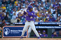 Maurice Hampton Jr. (14) of the LSU Tigers at bat against the Baylor Bears in game five of the 2020 Shriners Hospitals for Children College Classic at Minute Maid Park on February 28, 2020 in Houston, Texas. The Bears defeated the Tigers 6-4. (Brian Westerholt/Four Seam Images)