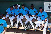 Miami Marlins (L-R) Isaac De Leon, Junior Sánchez, Christopher Torres, Dalvy Rosario, and Jandel Paulino before an Instructional League game against the Washington Nationals on September 25, 2019 at Roger Dean Chevrolet Stadium in Jupiter, Florida.  (Mike Janes/Four Seam Images)