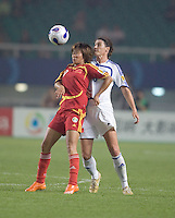 China's Duan Han prepares to trap the ball in front of World Stars' Cheryl Salisbury. The FIFA Women's World Stars played an exhibition match against China at the Wuhan Sports Center Stadium as part of the Women's World Cup Draw on April 21, 2007.