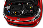 Car Stock 2017 KIA Rio Fusion 5 Door Hatchback Engine  high angle detail view