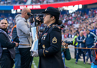 HARRISON, NJ - MARCH 08: The military escort enters the field with the SheBelieves trophy during a game between Spain and USWNT at Red Bull Arena on March 08, 2020 in Harrison, New Jersey.