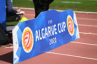 20200304  Parchal , Portugal : illustration picture showing a Algarve Cup cardboard during the female football game between the national teams of Denmark and Norway on the first matchday of the Algarve Cup 2020 , a prestigious friendly womensoccer tournament in Portugal , on wednesday 4 th March 2020 in Parchal , Portugal . PHOTO SPORTPIX.BE | DAVID CATRY