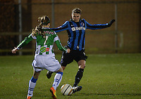 20131213 - VARSENARE , BELGIUM : Brugge's Heleen Jaques (right) pictured during the female soccer match between Club Brugge Vrouwen and PEC Zwolle Ladies , of  matchday 14  in the BENELEAGUE competition. Friday 13th December 2013. PHOTO DAVID CATRY