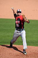 Tampa Spartans pitcher Dylan Barrow (16) delivers a pitch during an exhibition game against the Philadelphia Phillies on March 1, 2015 at Bright House Field in Clearwater, Florida.  Tampa defeated Philadelphia 6-2.  (Mike Janes/Four Seam Images)