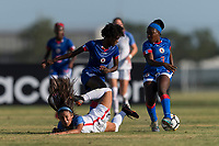 Bradenton, FL - Sunday, June 10, 2018: Samantha Meza, Angeline Gustave, Nancy Lindor prior to a U-17 Women's Championship match between the United States and Haiti at IMG Academy.  USA defeated Haiti 3-2 to advance to the finals.